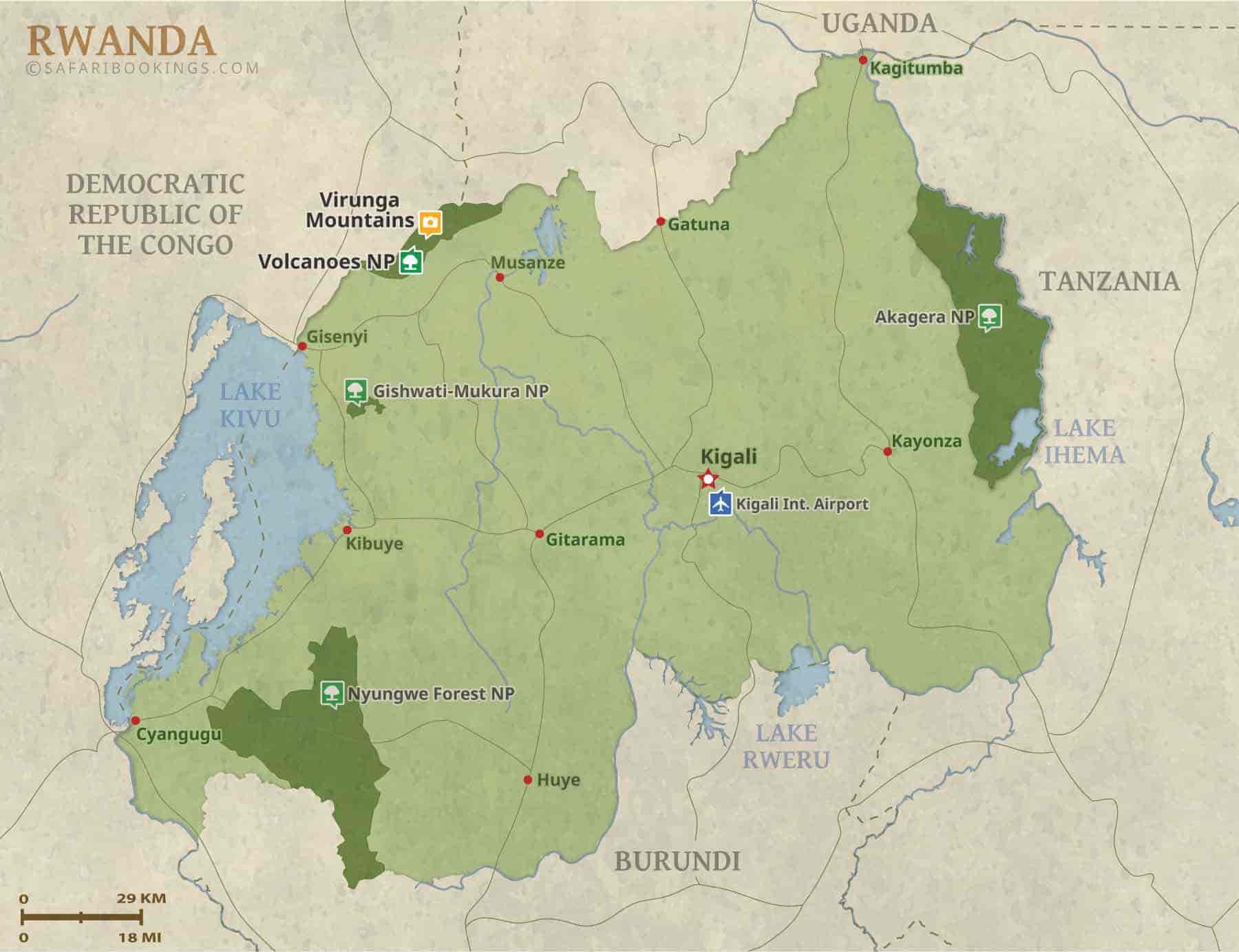 Detailed Map of Rwanda National Parks