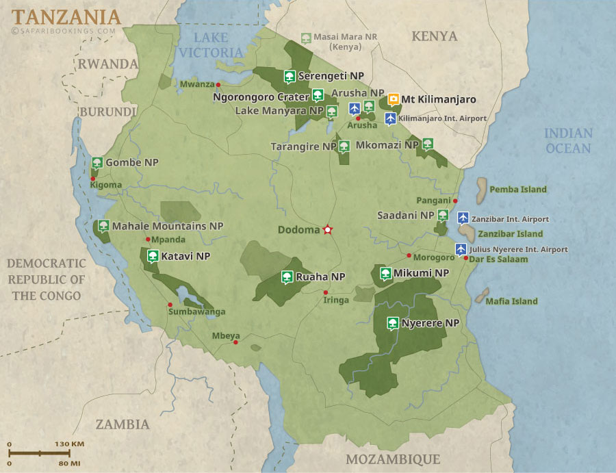 Detailed Map of Tanzania National Parks