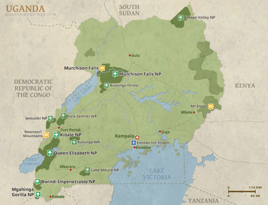 Uganda Map Detailed Map Of Uganda National Parks - Map of uganda