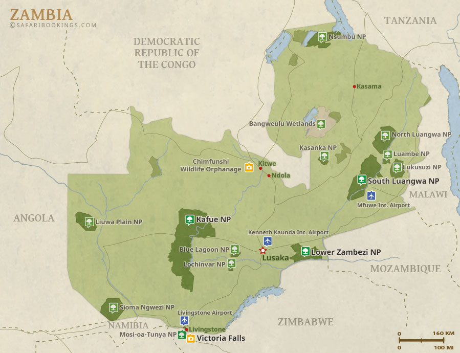 Zambia Map Detailed Map of Zambia National Parks