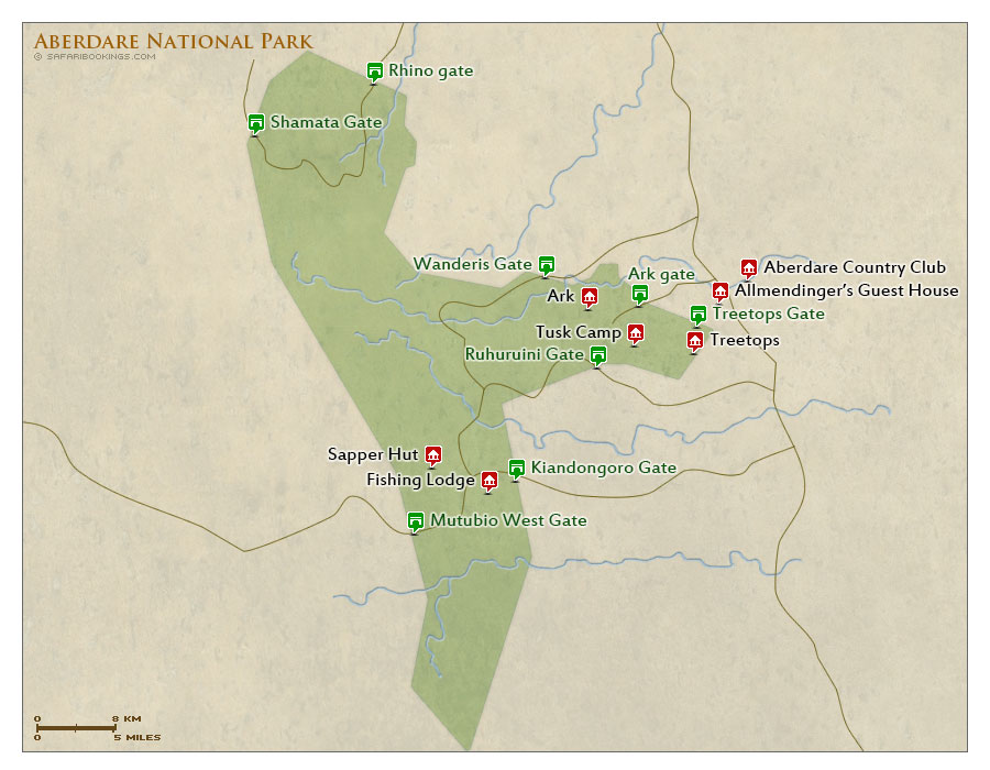 Detailed Map of Aberdare National Park