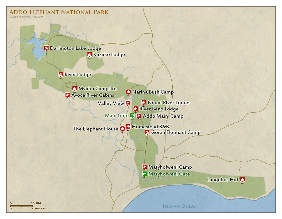 Addo Elephant Np Map Detailed Map Of Addo Elephant