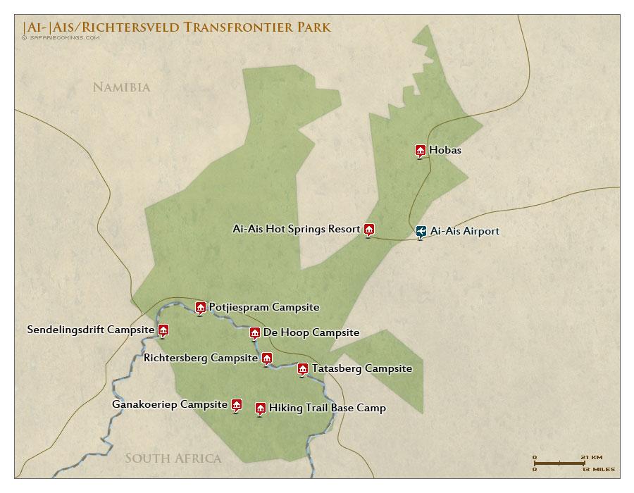 Detailed Map of |Ai-|Ais Richtersveld Transfrontier Park