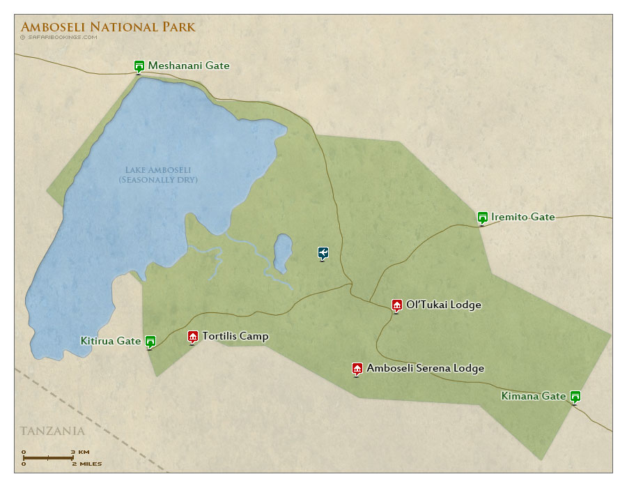 Detailed Map of Amboseli National Park