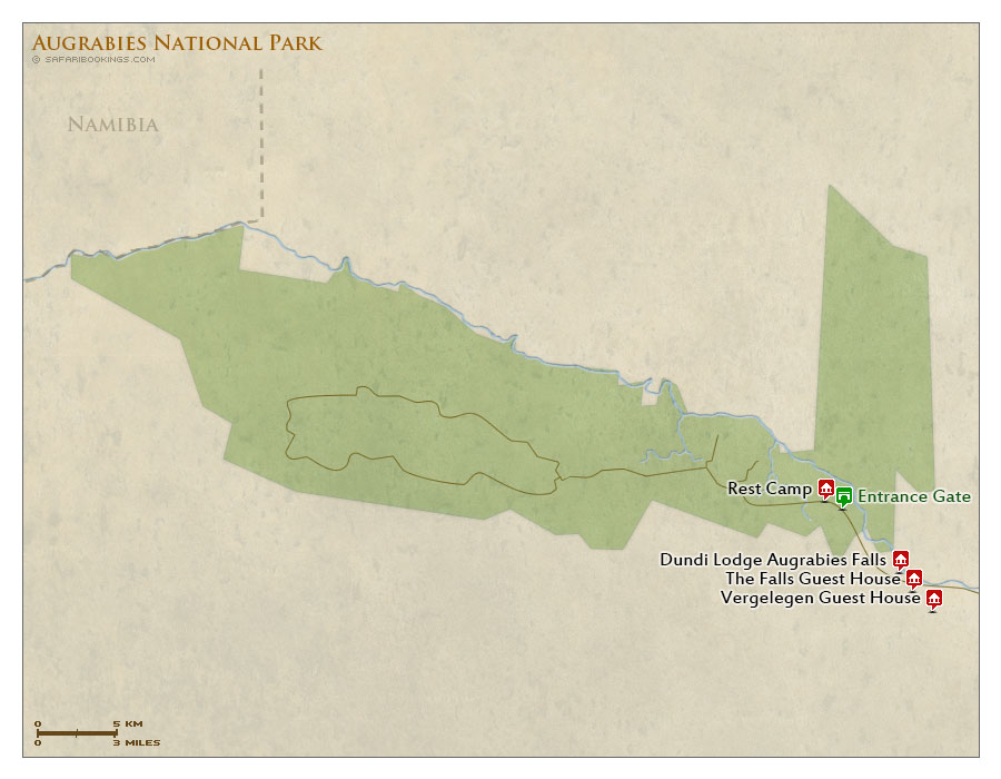 Detailed Map of Augrabies Falls National Park