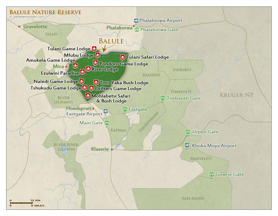 Detailed Map of Balule Nature Reserve
