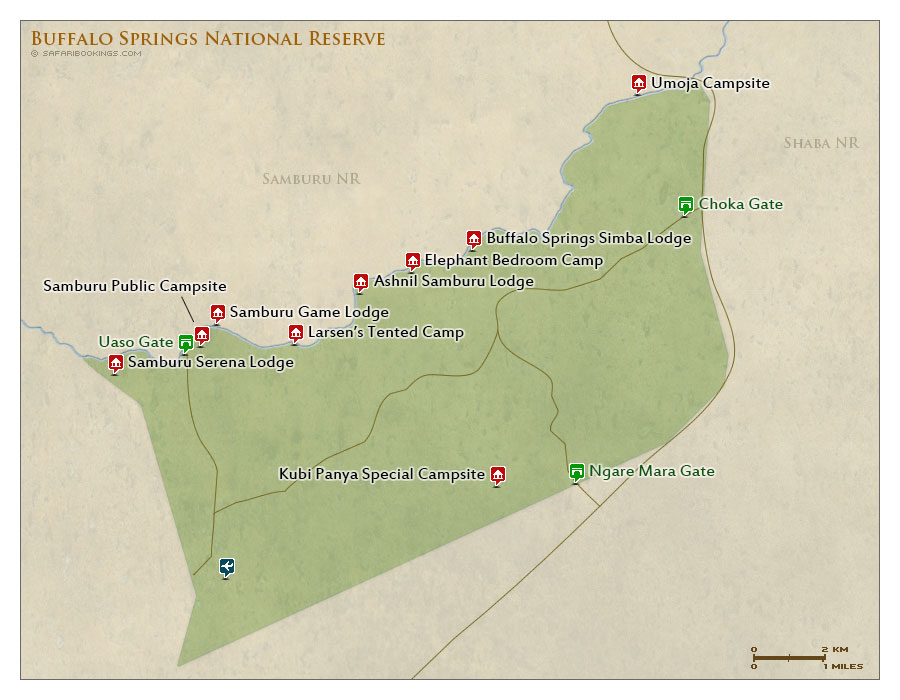 Detailed Map of Buffalo Springs National Reserve