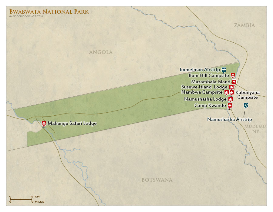 Detailed Map of Bwabwata National Park