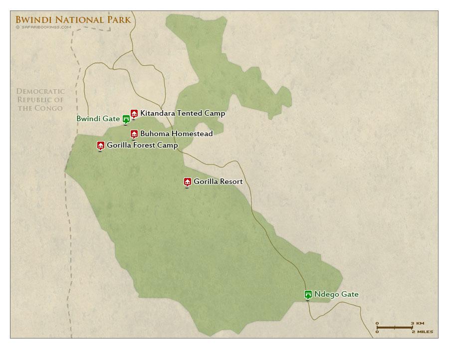 Detailed Map of Bwindi Impenetrable National Park