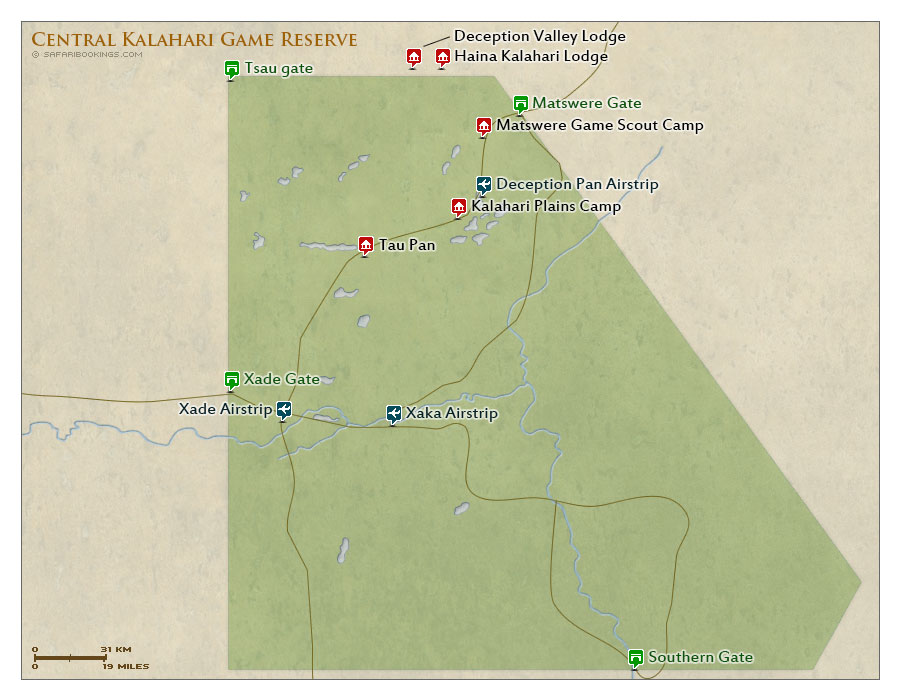Detailed Map of Central Kalahari Game Reserve