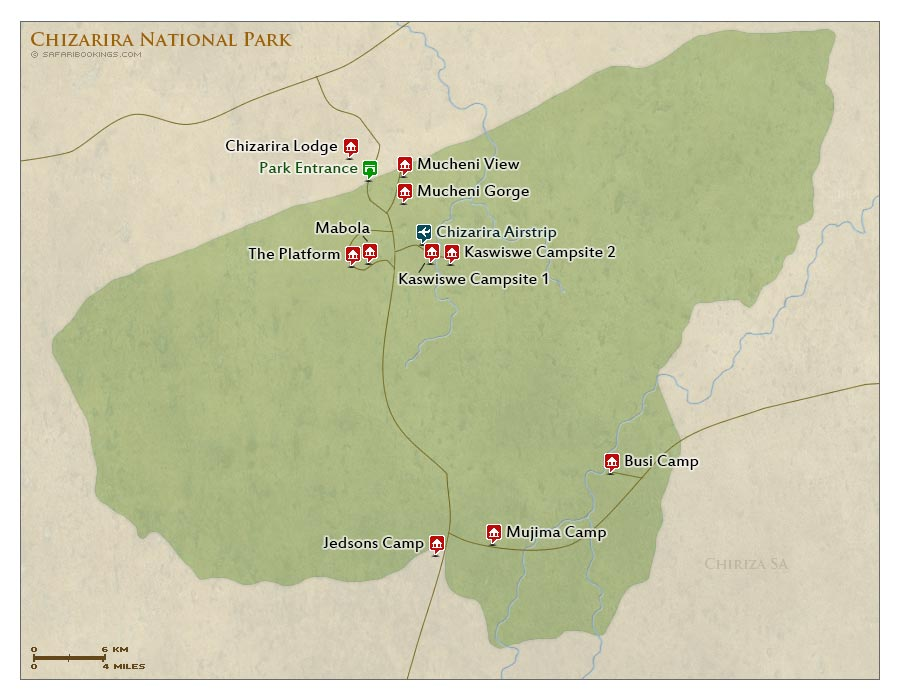 Detailed Map of Chizarira National Park