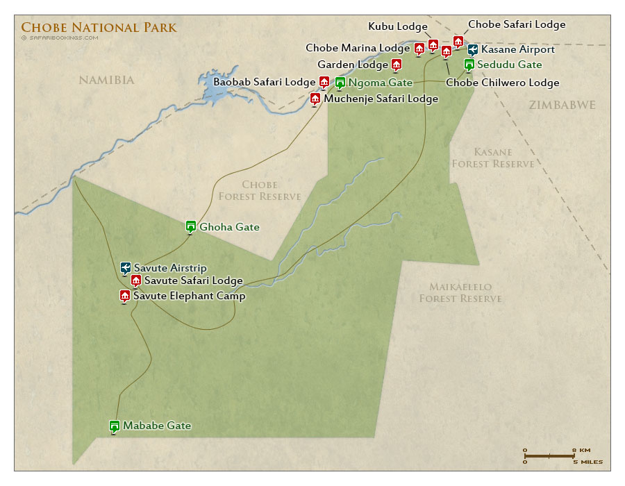 Detailed Map of Chobe National Park
