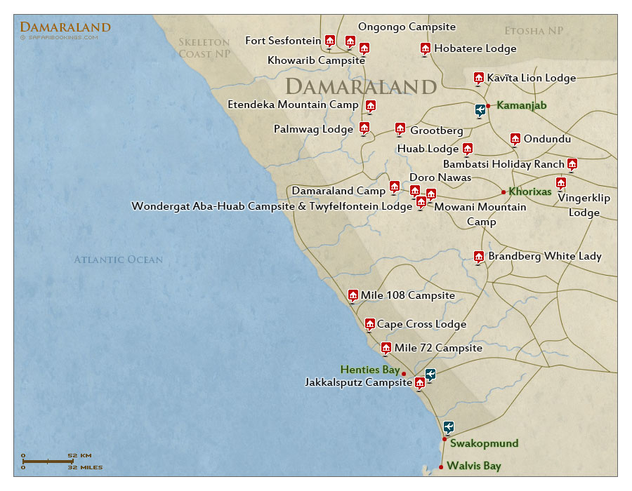 Detailed Map of Damaraland