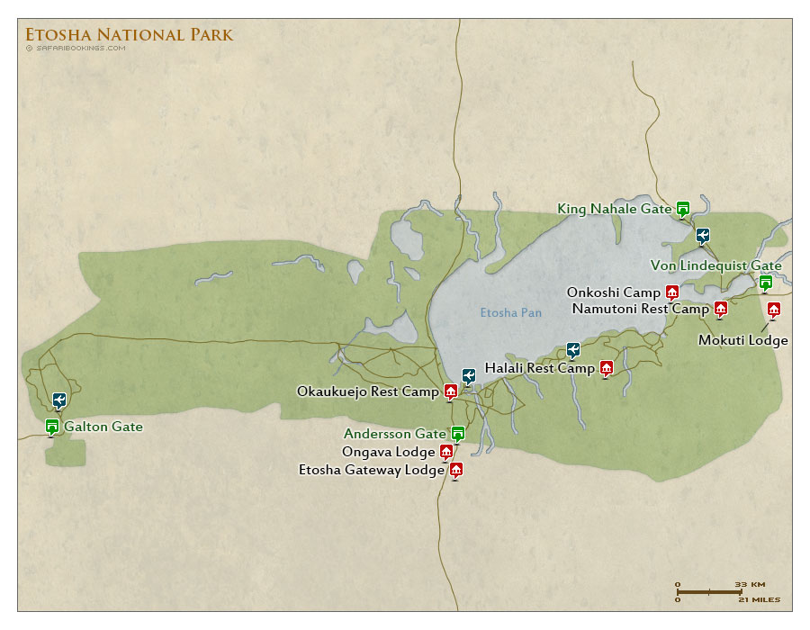 Detailed Map of Etosha National Park