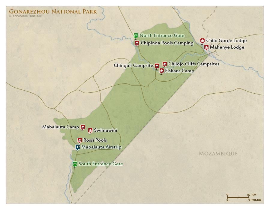 Detailed Map of Gonarezhou National Park