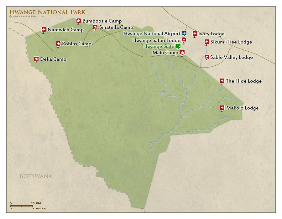 Detailed Map of Hwange National Park