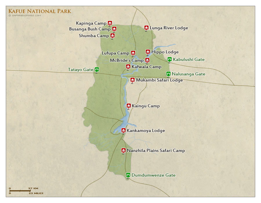 Detailed Map of Kafue National Park