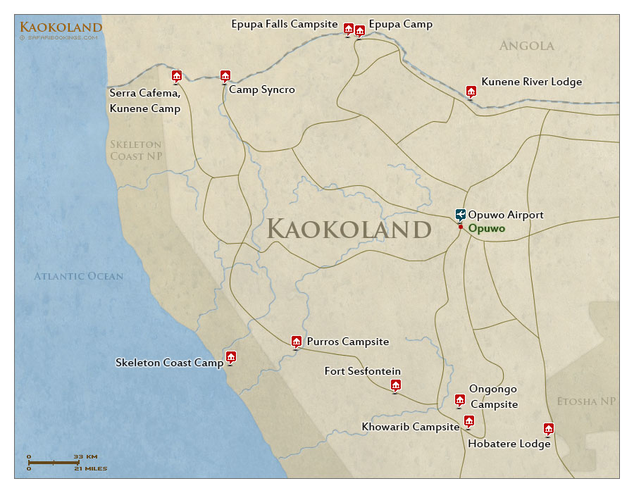 Detailed Map of Kaokoland