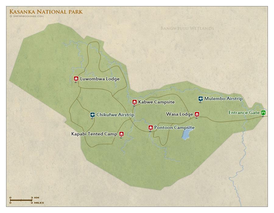 Detailed Map of Kasanka National Park
