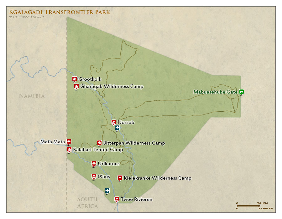 Detailed Map of Kgalagadi Transfrontier Park