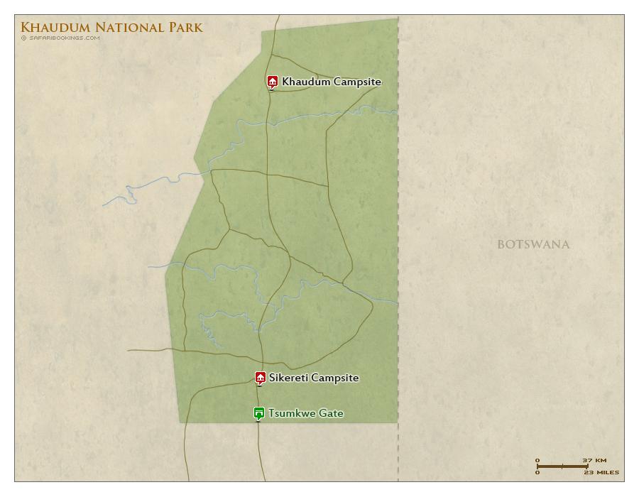 Detailed Map of Khaudum National Park