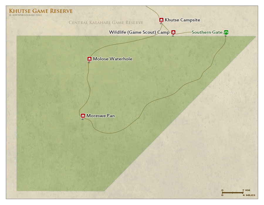 Detailed Map of Khutse Game Reserve