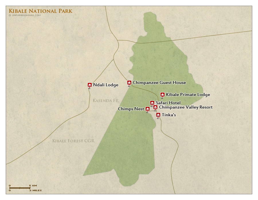 Detailed Map of Kibale National Park