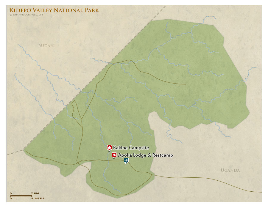 Detailed Map of Kidepo Valley National Park
