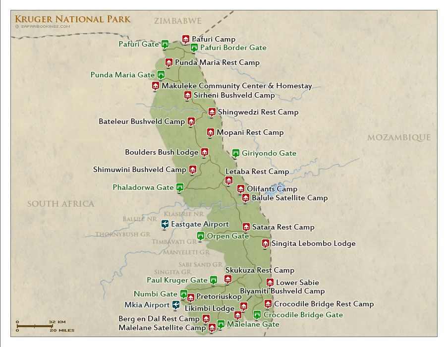Kruger NP Map  Detailed map of Kruger National Park