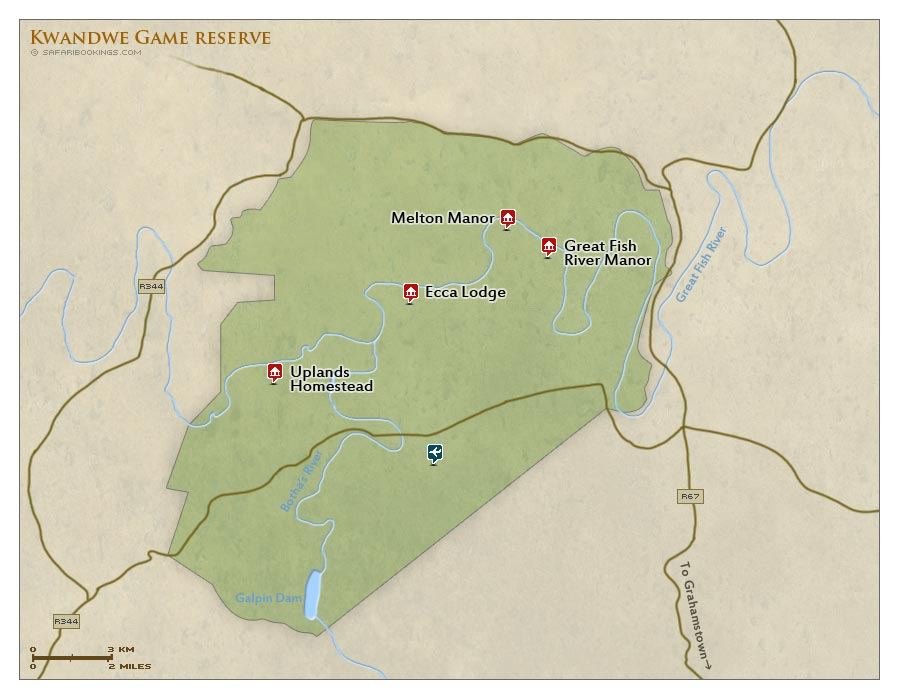 Detailed Map of Kwandwe Game Reserve