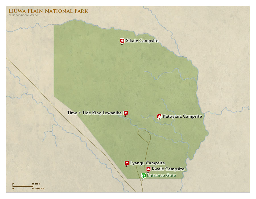 Detailed Map of Liuwa Plain National Park