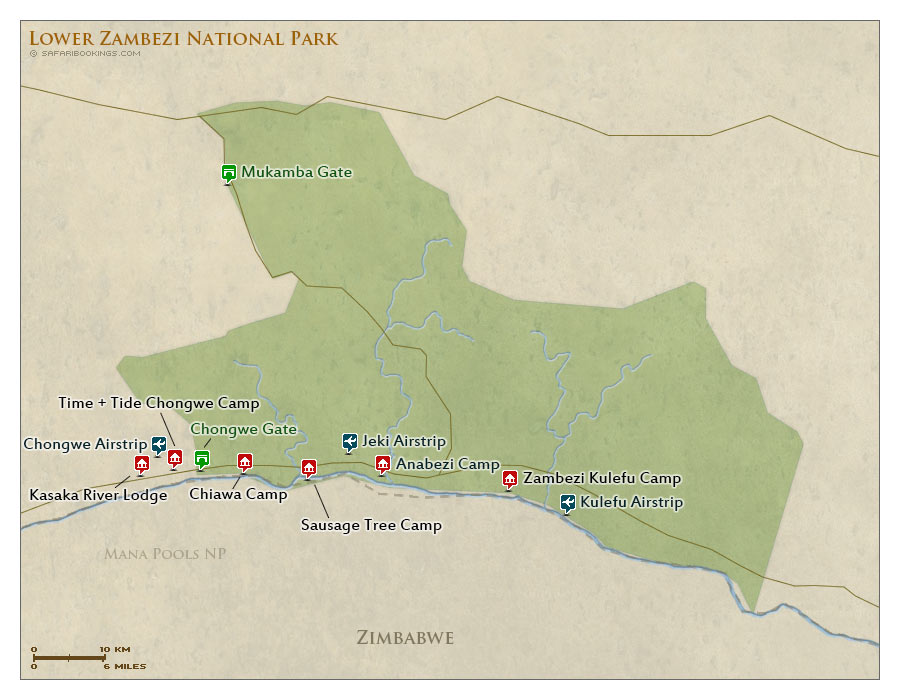 Detailed Map of Lower Zambezi National Park
