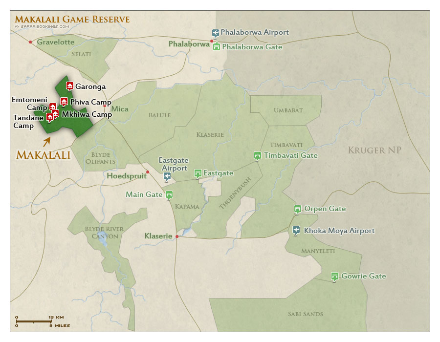 Detailed Map of Makalali Private Game Reserve