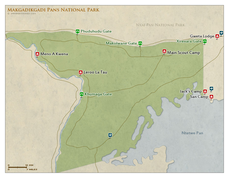 Detailed Map of Makgadikgadi Pans National Park
