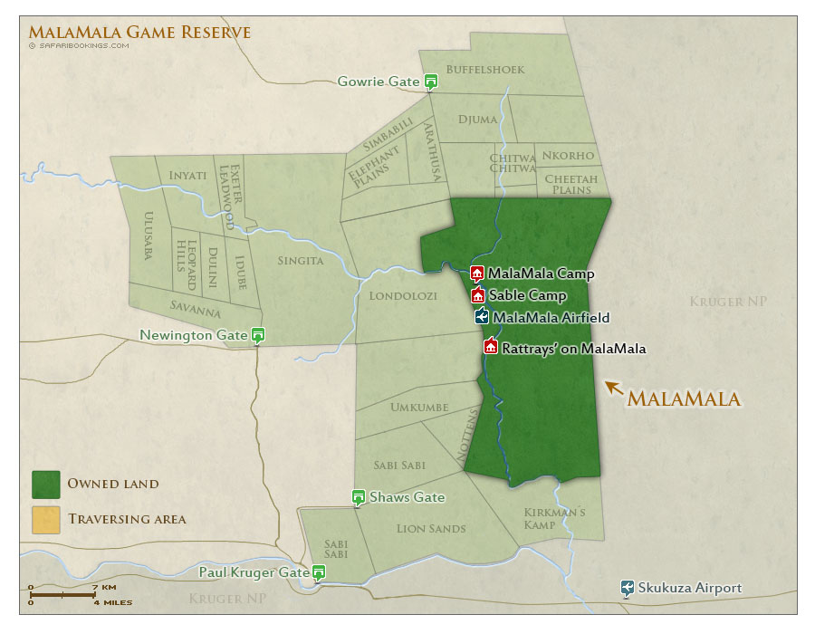 Detailed Map of MalaMala Game Reserve