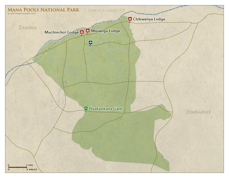 Detailed Map of Mana Pools National Park