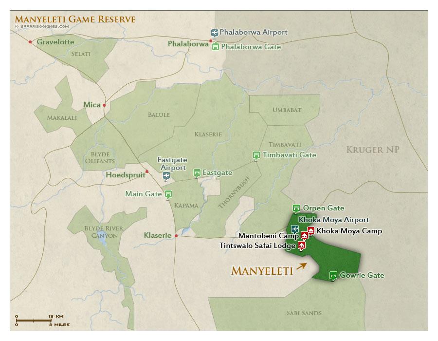 Detailed Map of Manyeleti Game Reserve