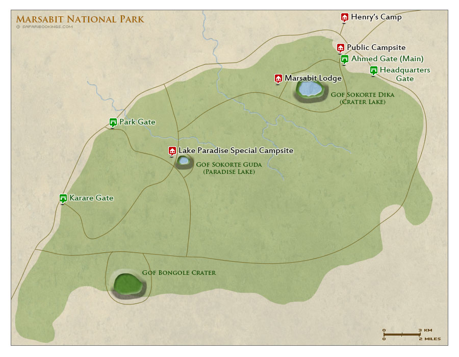 Detailed Map of Marsabit National Park