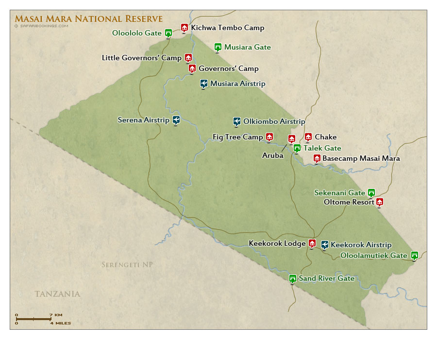 Detailed Map of Masai Mara National Reserve
