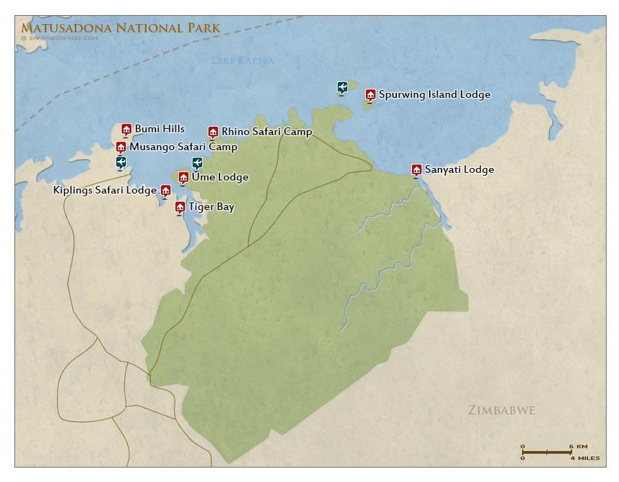 Detailed Map of Matusadona National Park