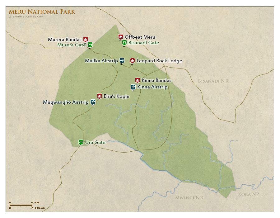 Detailed Map of Meru National Park