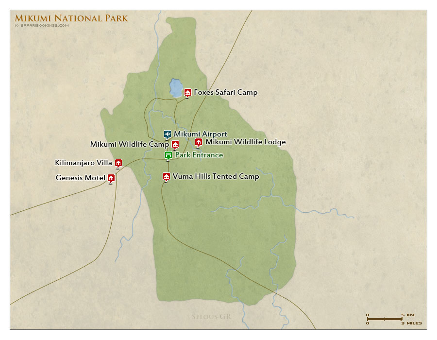 Detailed Map of Mikumi National Park