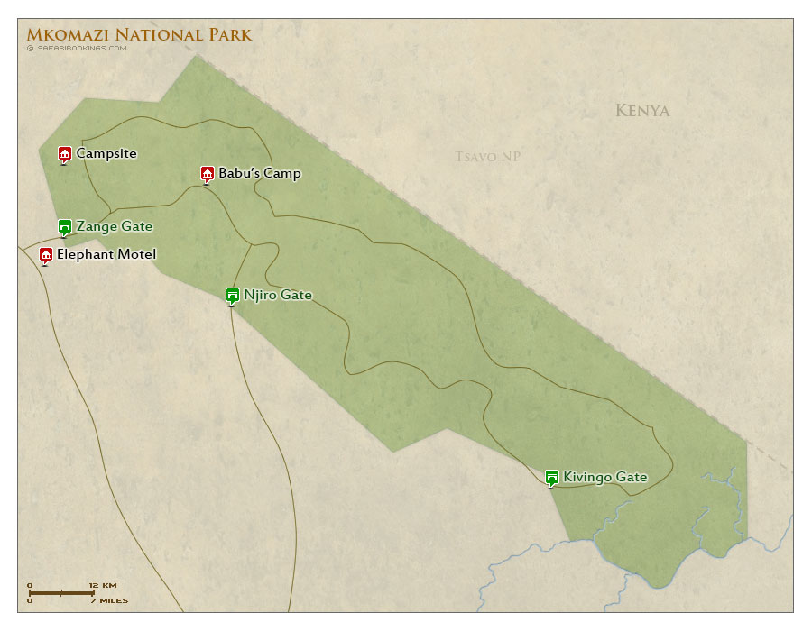 Detailed Map of Mkomazi National Park