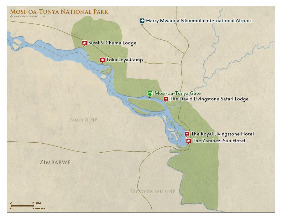 Detailed Map of Mosi-oa-Tunya National Park