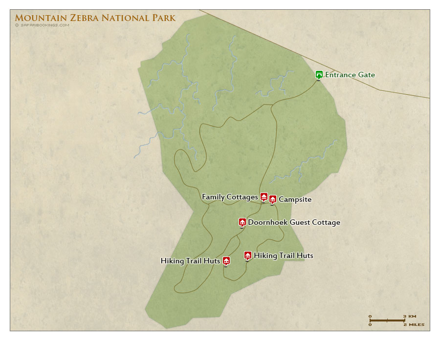 Detailed Map of Mountain Zebra National Park