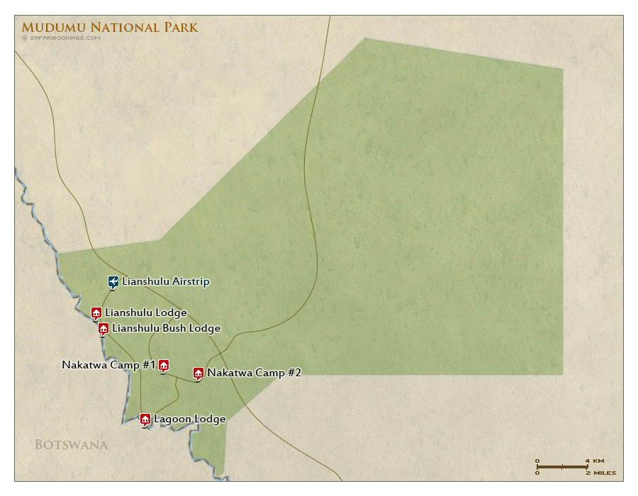 Detailed Map of Mudumu National Park
