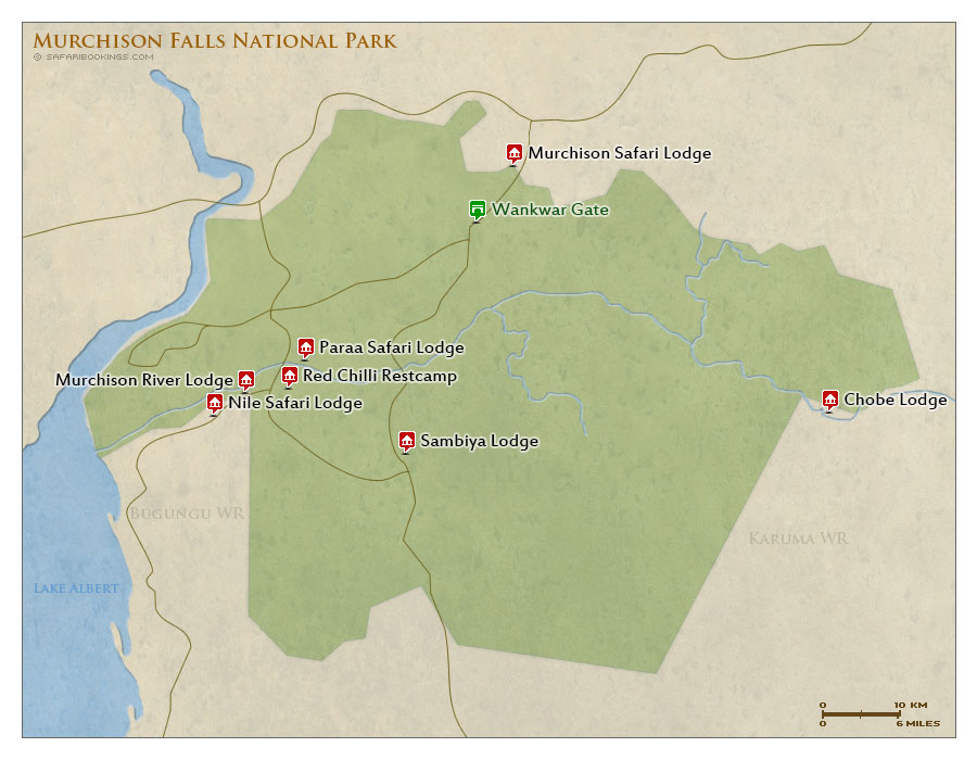 Detailed Map of Murchison Falls National Park