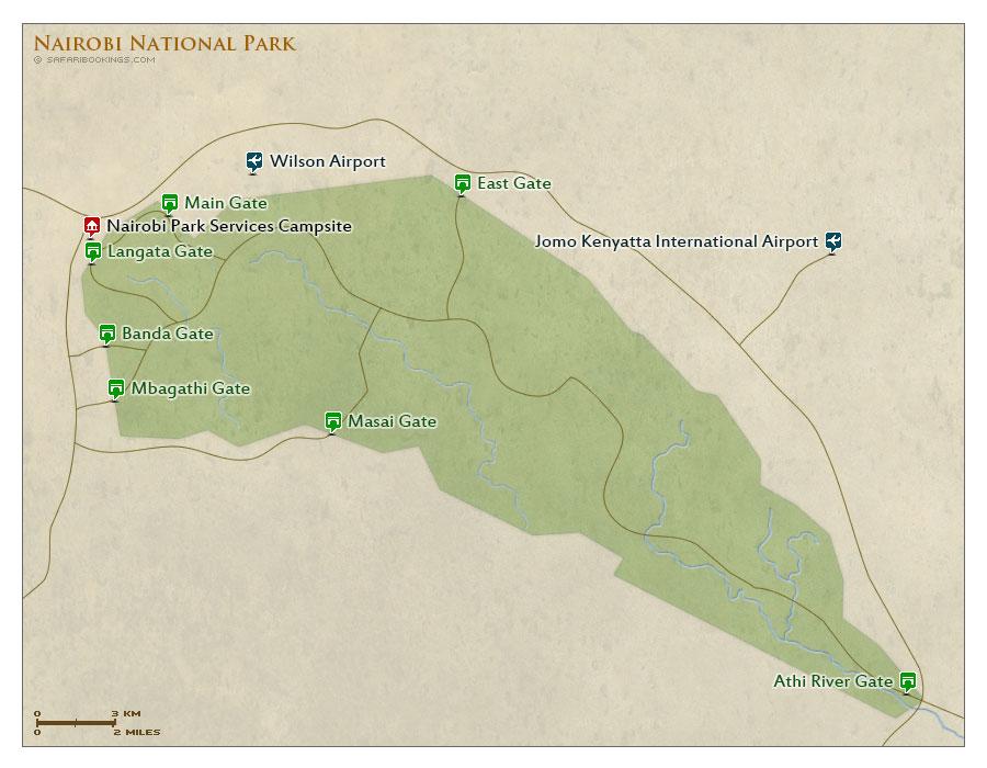 Nairobi NP Map Detailed Map Of Nairobi National Park - nairobi map