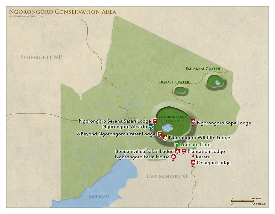 Detailed Map of Ngorongoro Crater