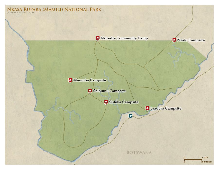 Detailed Map of Nkasa Rupara National Park